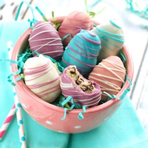 easter egg cookie dough truffles in pink polka dotted bowl