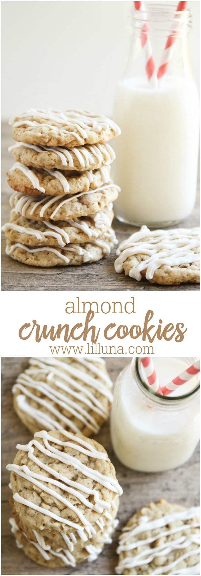 Delicious Chewy Almond Crunch Cookies drizzled with white Chocolate! It's one of our favorite treats.