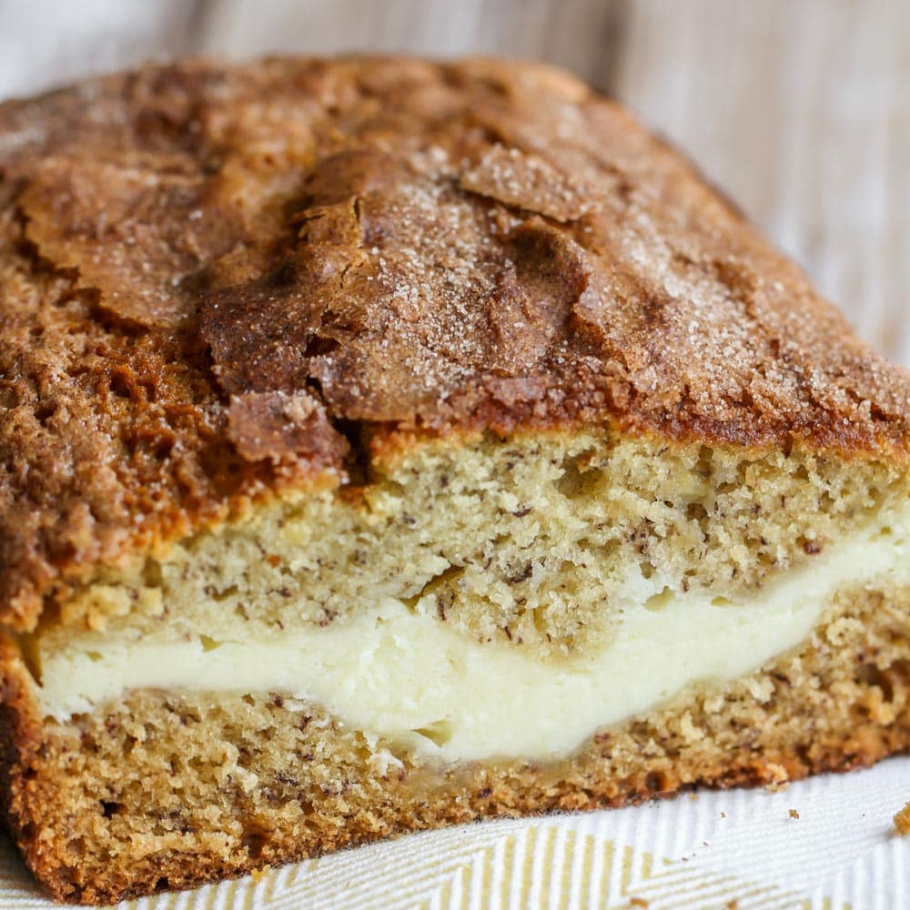 Cheesecake stuffed banana bread recipe close up image