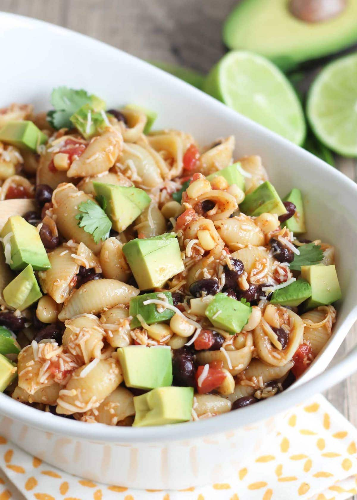 Mexican Taco Pasta Salad in white bowl
