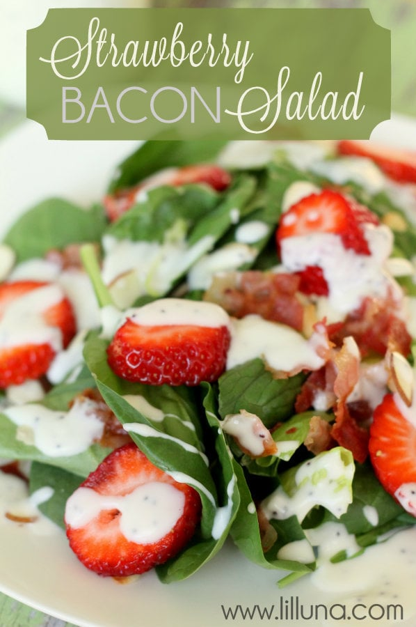This salad is SO yummy! Must remember it for the future - Strawverry Bacon Salad { lilluna.com }