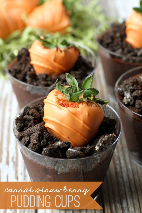 Carrot Strawberry Pudding Cups - cute and perfect for Easter! { lilluna.com } Chocolate pudding with crushed oreos and a carrot strawberry!