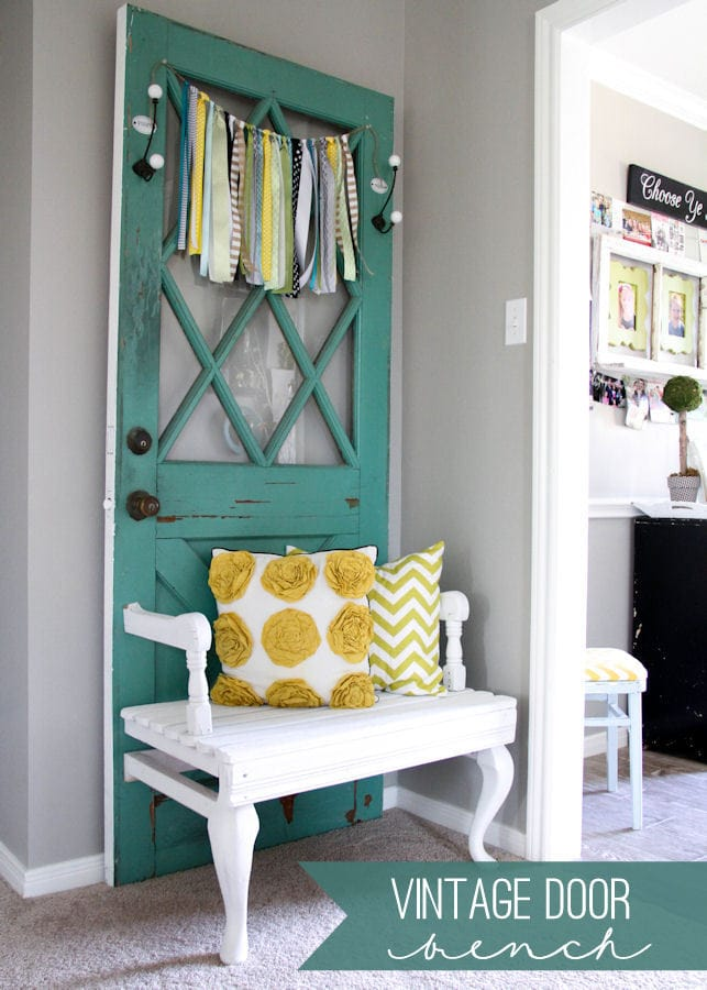 Beautiful Vintage Door Bench tutorial { lilluna.com } Cute idea to add to any bench!!