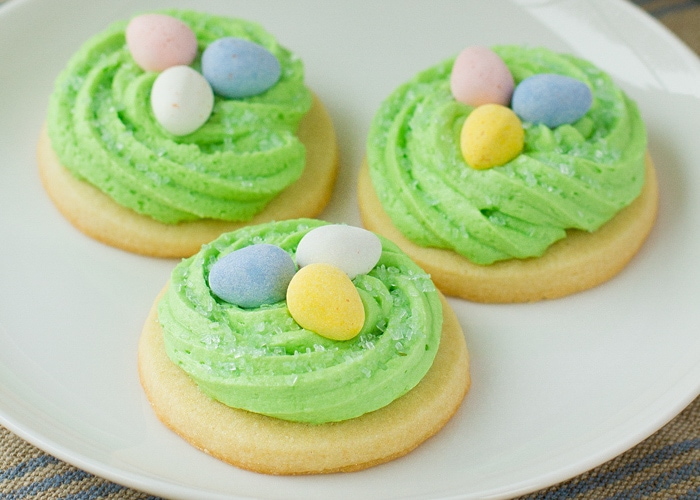 Easter nest sugar cookies on a white plate