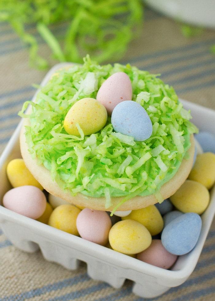 Birds nest sugar cookie with cadbury eggs