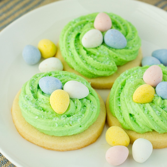 Easter sugar cookies that look like birds nests