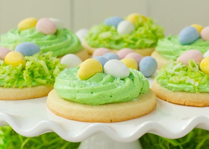 Birds nest cookies with cadbury eggs