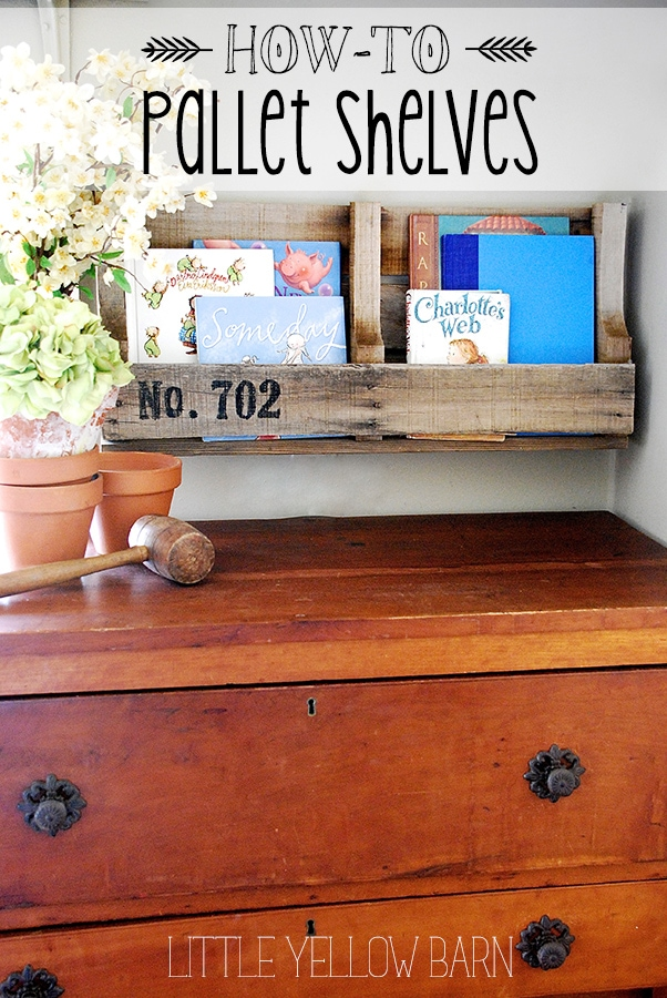 Super easy Pallet Shelves Tutorial on { lilluna.com } Such a cute way to display your things!