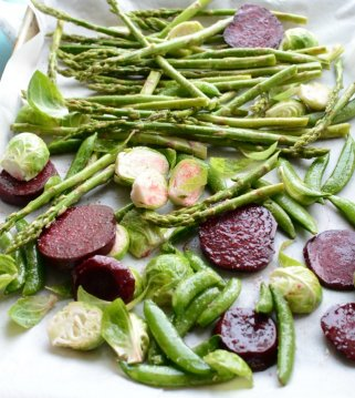 oven roasted vegetables including snap peas, asparagus, beets and brussel sprouts
