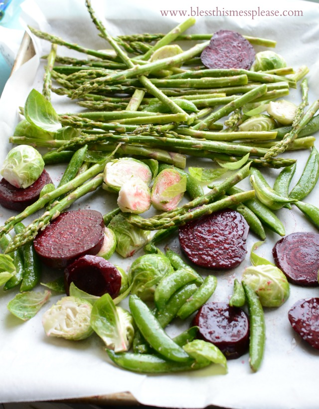 Simple Roasted Spring Vegetables recipe { lilluna.com } Brussel sprouts, beets, asparagus, and snap peas lightly seasoned and so tasty!!