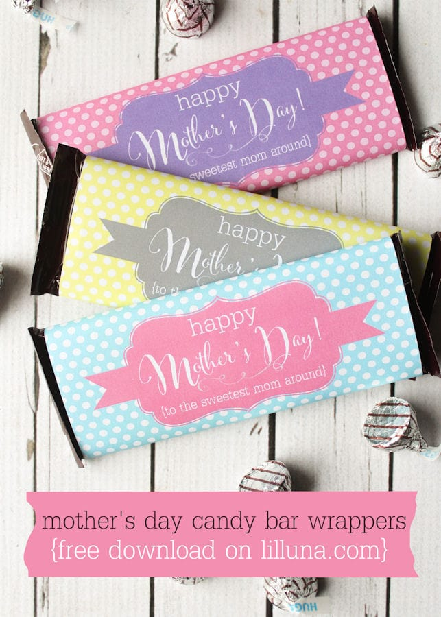 FREE Mother's Day Candy Bar Wrappers { lilluna.com } Cute & colorful!