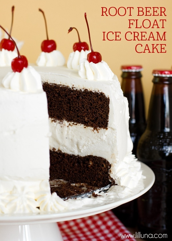 Delicious Root Beer Float Ice Cream Cake recipe on { lilluna.com ...