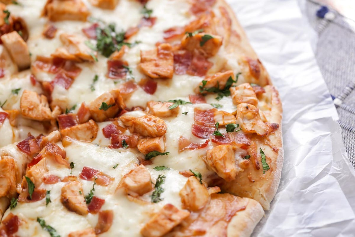 BBQ Chicken Pizza with bacon and cilantro