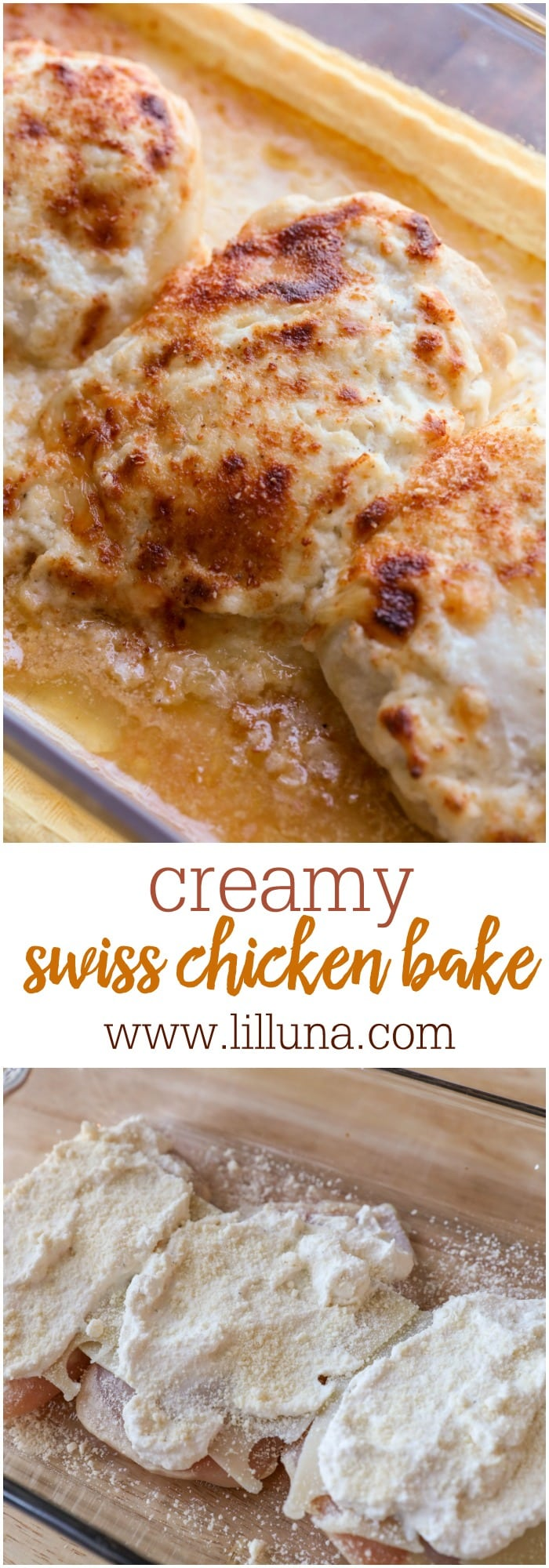 Delicious Creamy Swiss Chicken Bake - a simple and delicious dinner recipe that includes Swiss and Parmesan cheese.