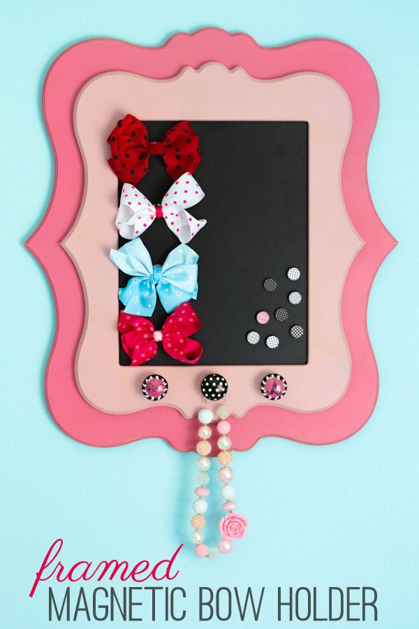 Adorable Framed Magnetic Bow Holder tutorial on { lilluna.com }