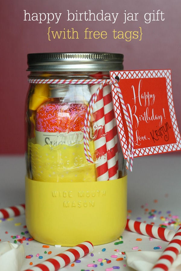 CUTE Happy Birthday Jar Gift with free tags on { lilluna.com } A cute jar filled with fun treats for the birthday person!