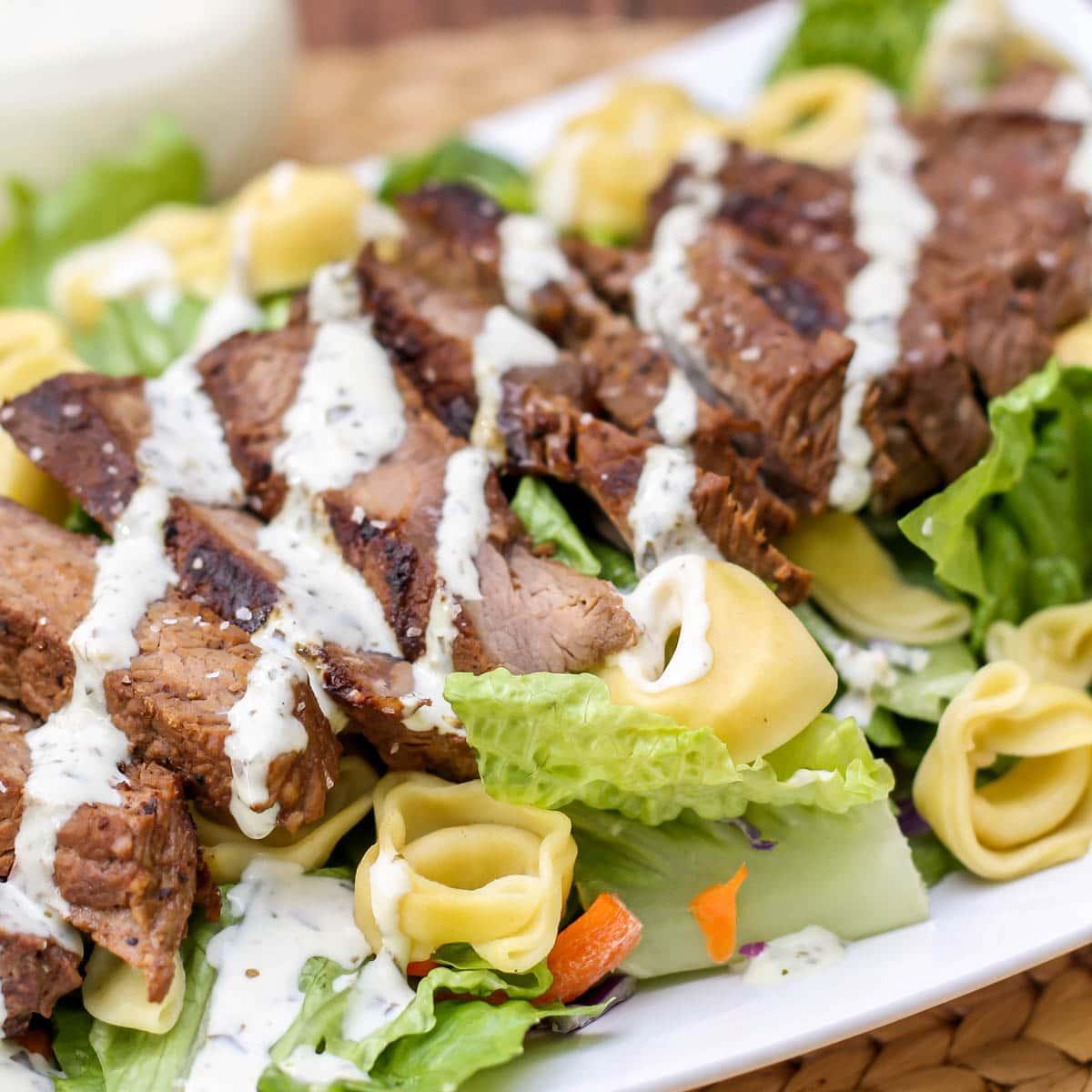 Dressed steak on a bed of salad.
