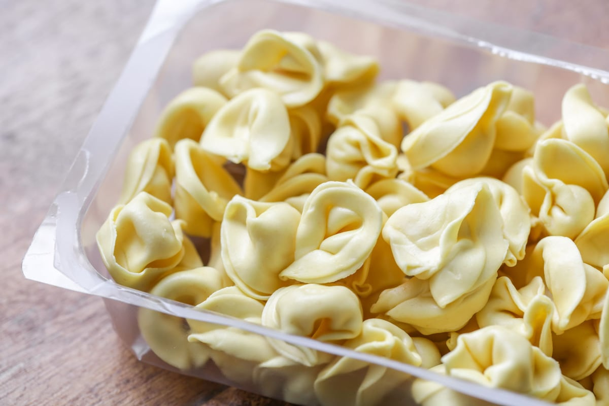 Tortellini uncooked in the package