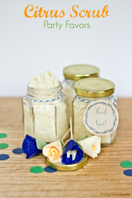 DIY Citrus Scrub Party Favors recipe. So easy to make and smell so good. Ingredients include sugar, coconut oil, zest from an orange & lemon, and orange essential oil.