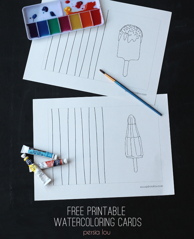 Free Printable Watercoloring Cards on { lilluna.com } Kids will have so much fun painting these!