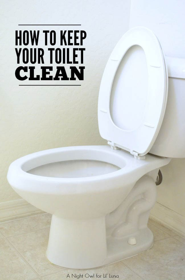 How to Keep Your Toilet Clean Longer { lilluna.com } Such a great tip!! NEED to so this! All you need is some cleaning vinegar, tape, and a brush!