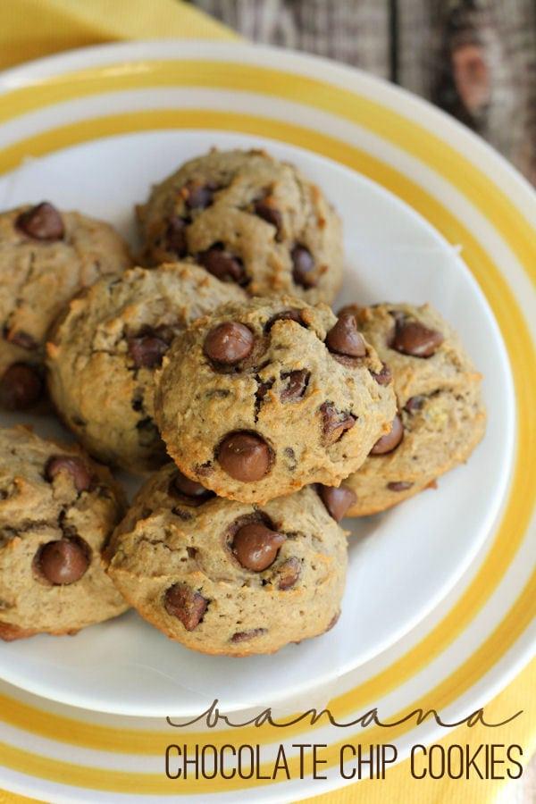 Delicious Banana Chocolate Chip Cookies recipe on { lilluna.com }