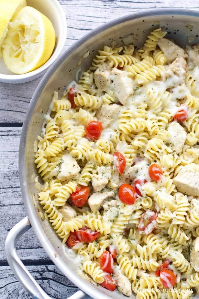 Spicy Lemon Chicken Pasta with Tomatoes