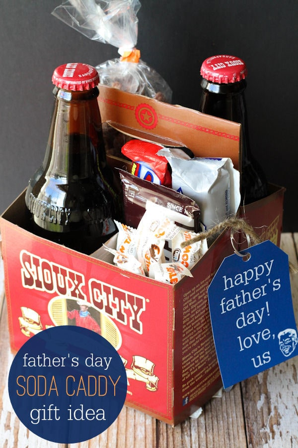 Father's Day Soda Caddy Gift idea with free prints on { lilluna.com } Fill with all dad's favorite goodies!!