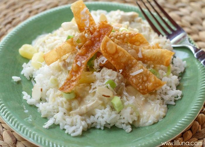 Hawaiian Haystacks served over rice on a green plate
