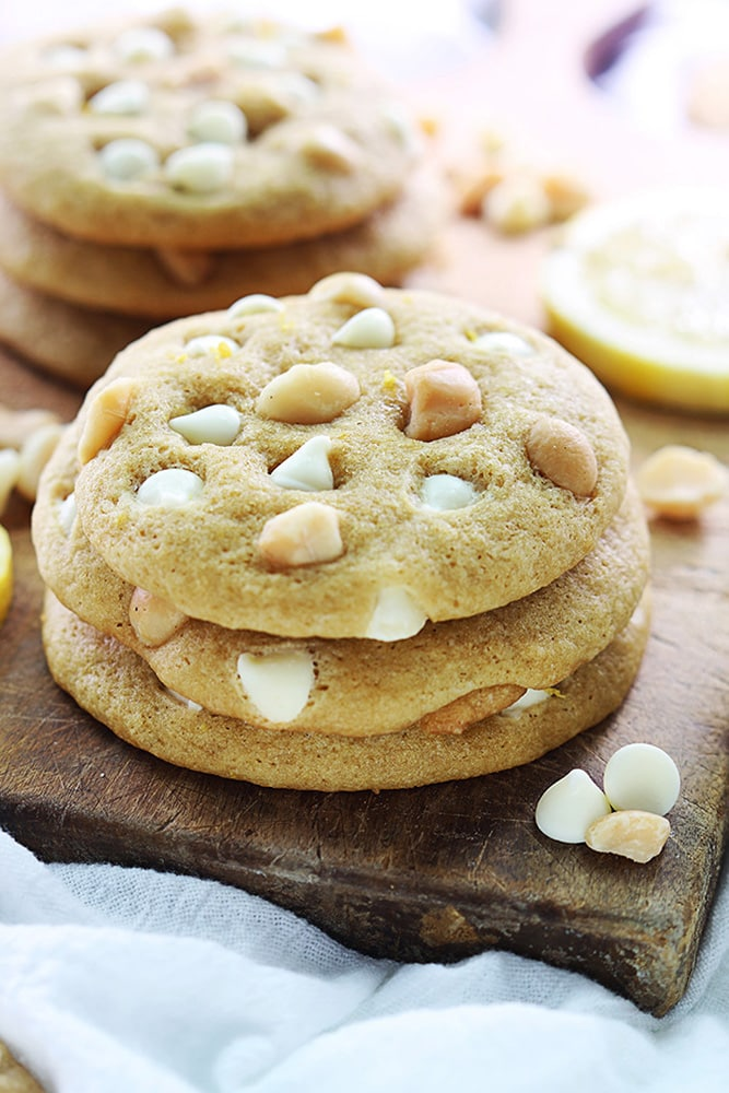 Lemon White Chocolate Chip Macadamia Nut Cookies recipe on { lilluna.com }