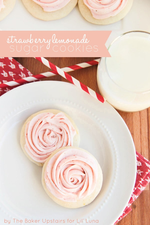 Delicious Strawberry Lemonade Cookies on { lilluna.com } Soft cookies with delicious strawberry frosting!