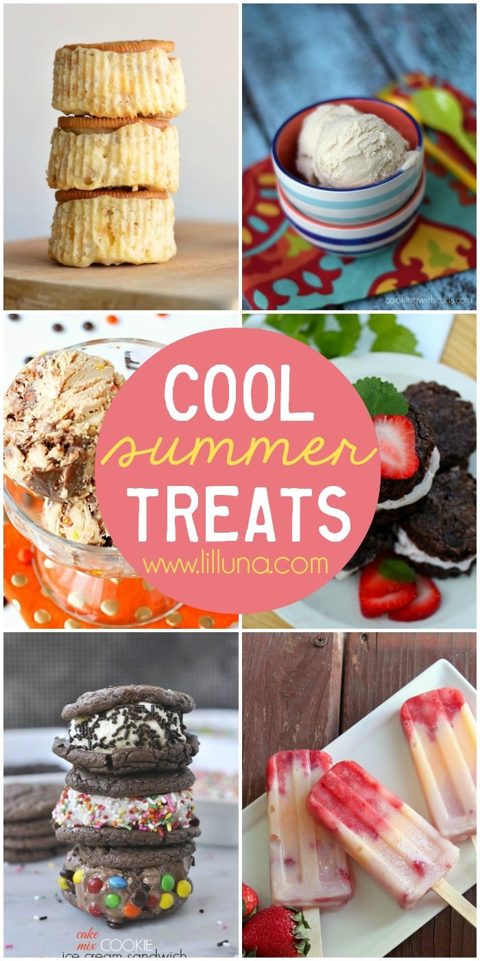 A roundup of Cool Summer Treats to cool you off in the summer heat! Must see on { lilluna.com } Lots of yummy recipes including ice cream, popsicles, and ice cream sandwiches.