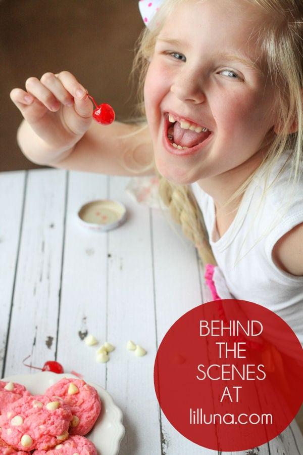 Behind the Scenes - Gooey White Chocolate Cherry Chip Cookies