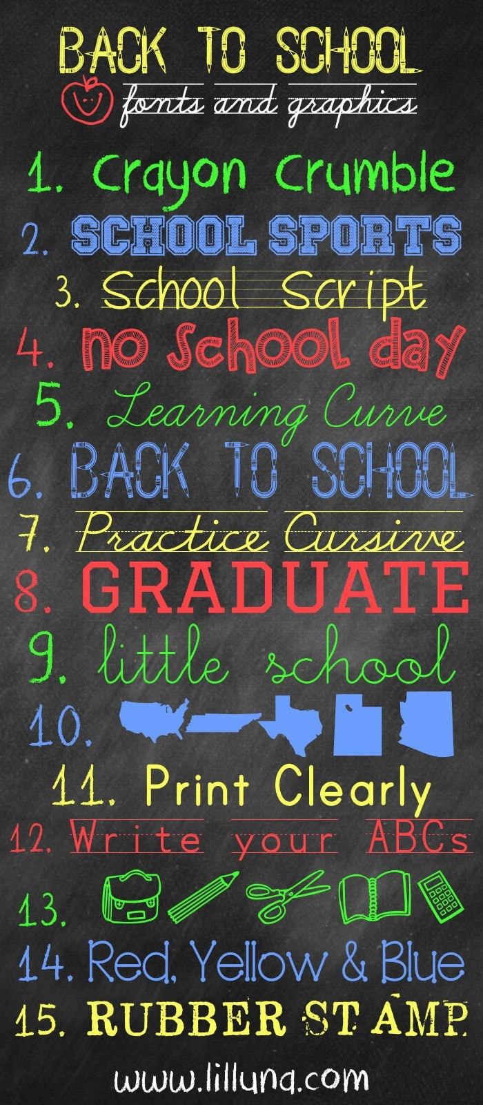 FREE Back to School Fonts and Graphics { lilluna.com } So many fun and cute fonts to download and use!