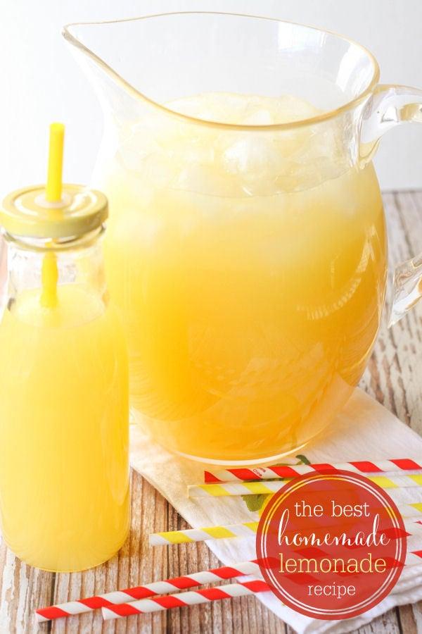 Our favorite homemade lemonade recipe - so good! { lilluna.com } Includes sprite, pineapple juice, & lemonade dry mix.