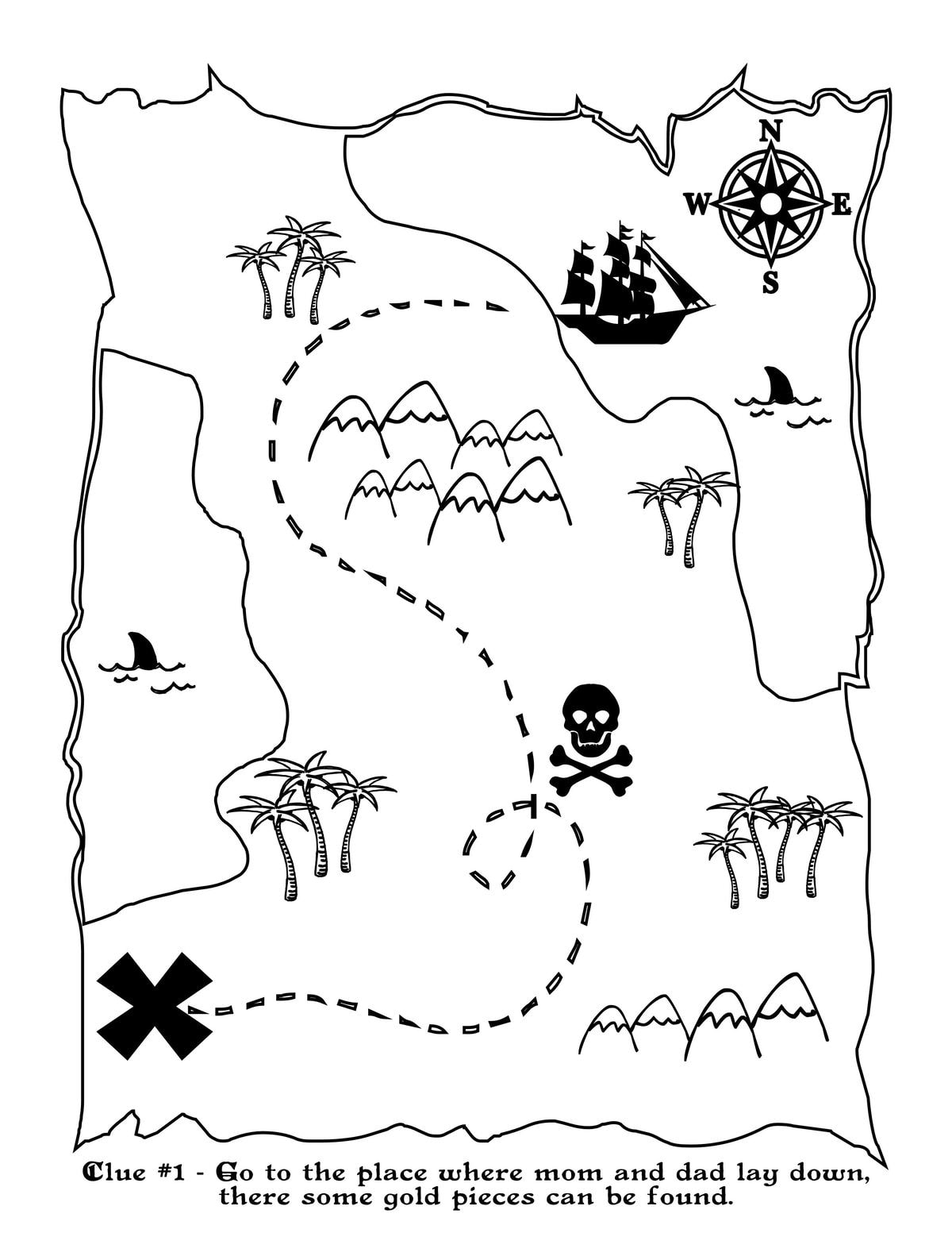 Ridiculous image within pirate treasure map printable