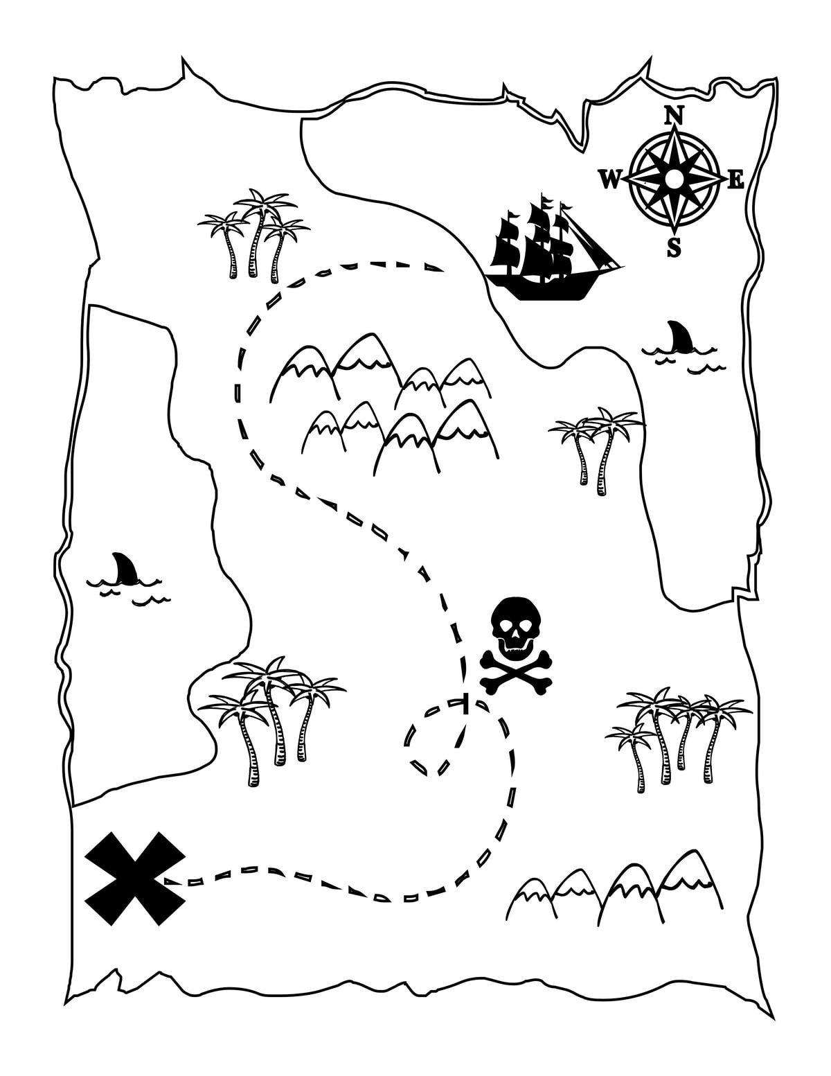graphic relating to Printable Map for Kids identified as Printable Treasure Map Youngsters Recreation