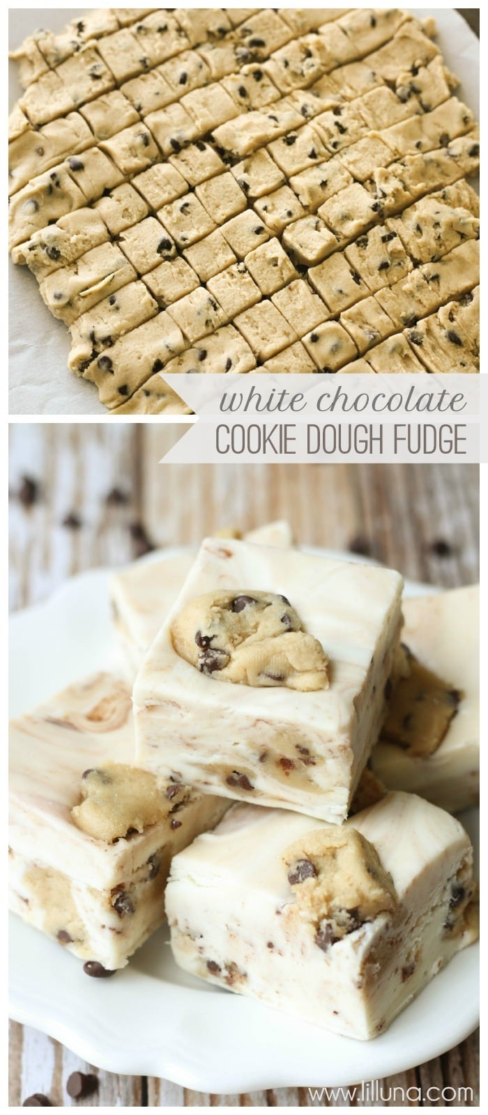 DELICIOUS White Chocolate Cookie Dough Fudge recipe { lilluna.com } Eggless cookie dough mixed in a creamy white fudge made with white chocolate chips, marshmallow fluff, and heavy cream!