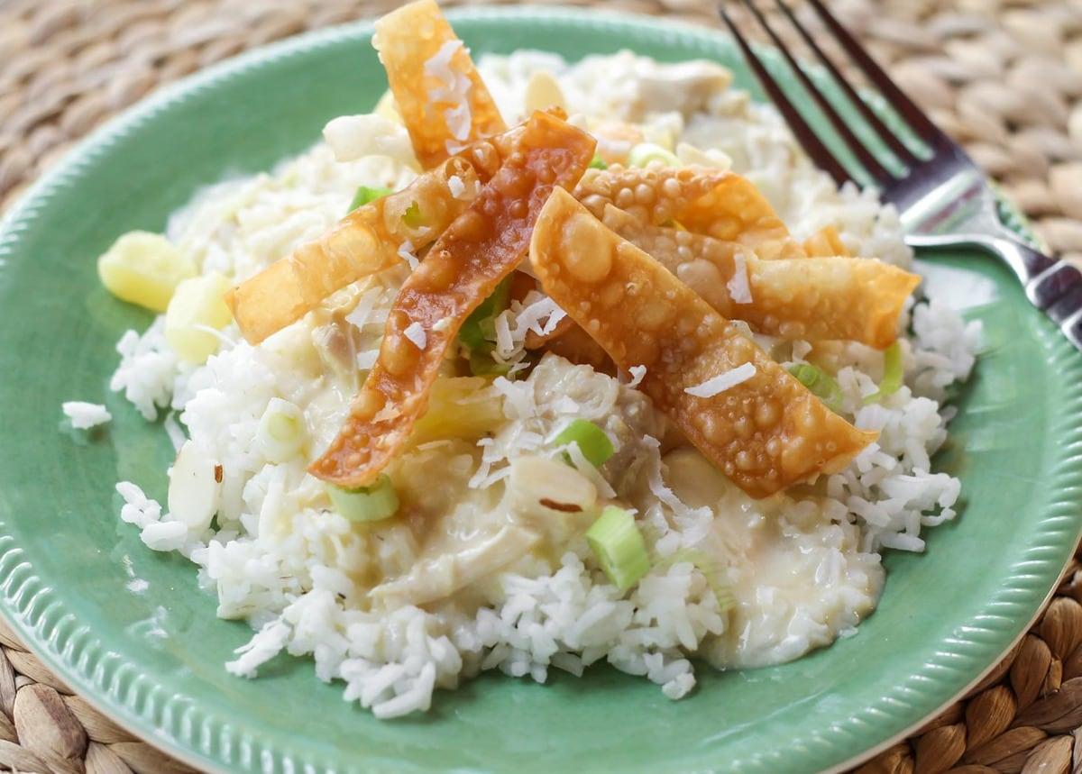 Easy Hawaiian Haystacks recipe on plate