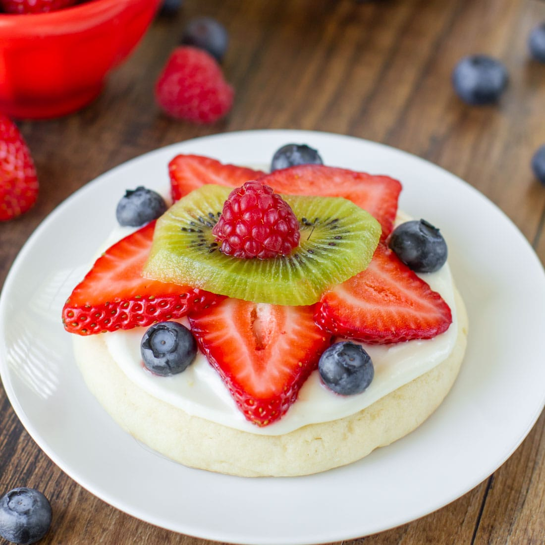Mini fruit pizza on a white plate