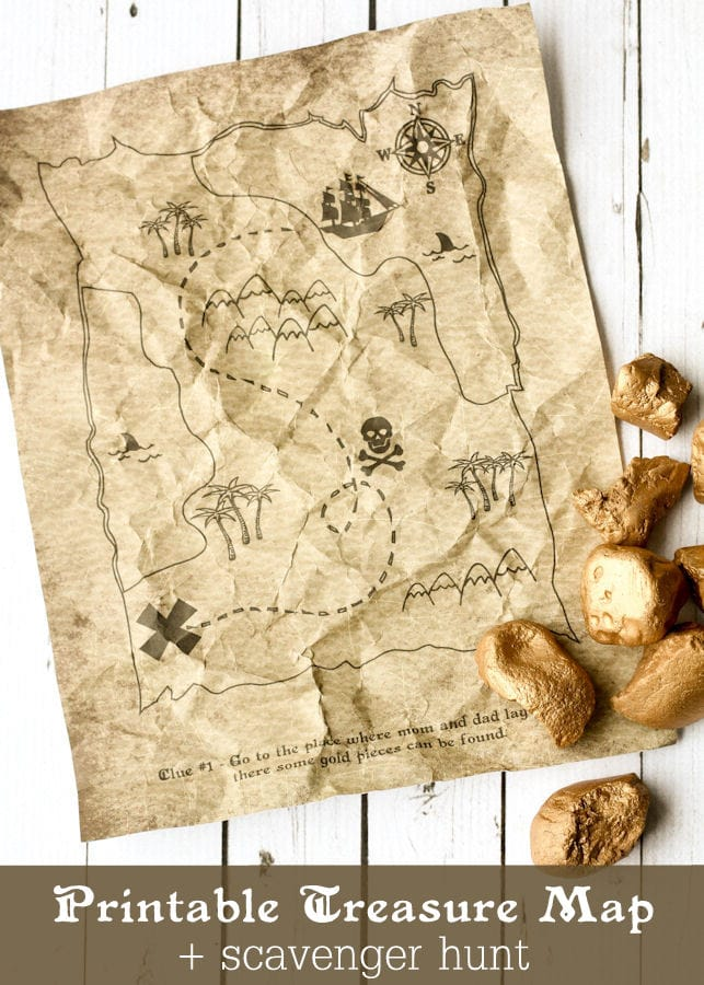 Printable Treasure Map Kids Activity - Free Coloring Pages and Scavenger Hunt { lilluna.com } The kids will have tons of fun looking for their treasure!