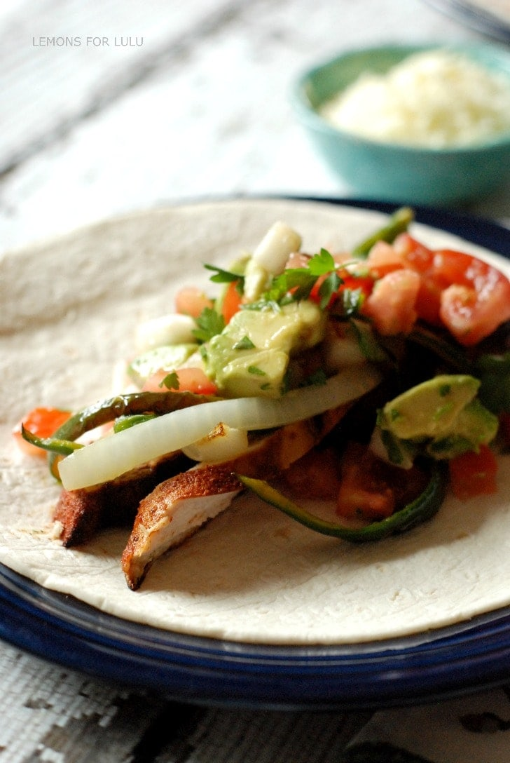 BBQ Chicken Burritos with a fresh peach salsa - recipe on { lilluna.com }