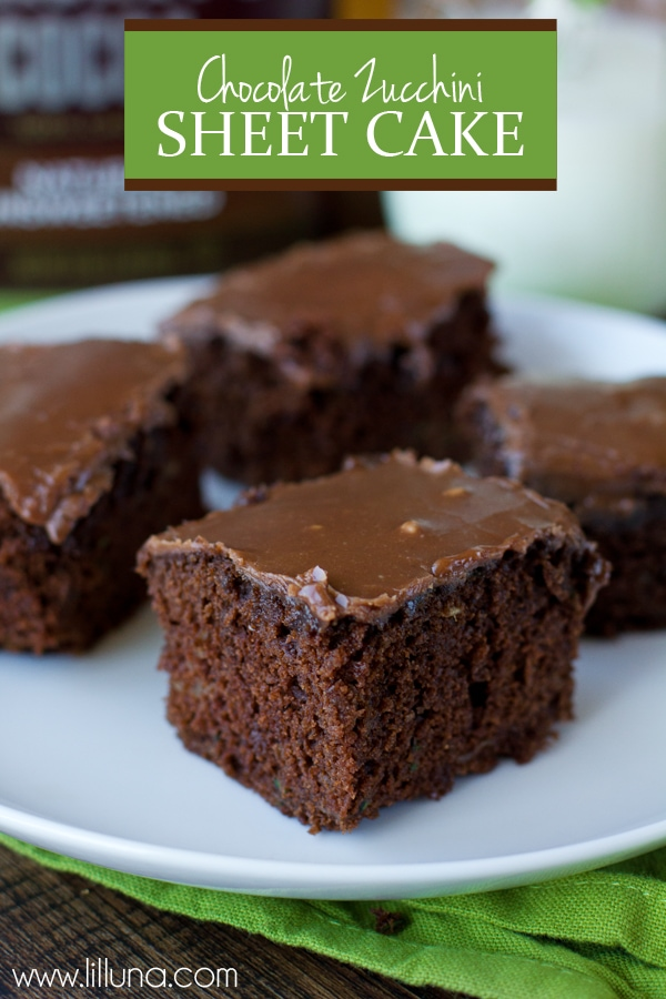 YUMMY Chocolate Zucchini Sheet Cake - so good! { lilluna.com } Moist and delicious and you'd never know it had grated zucchini in it! Also, has a smooth chocolatey frosting.