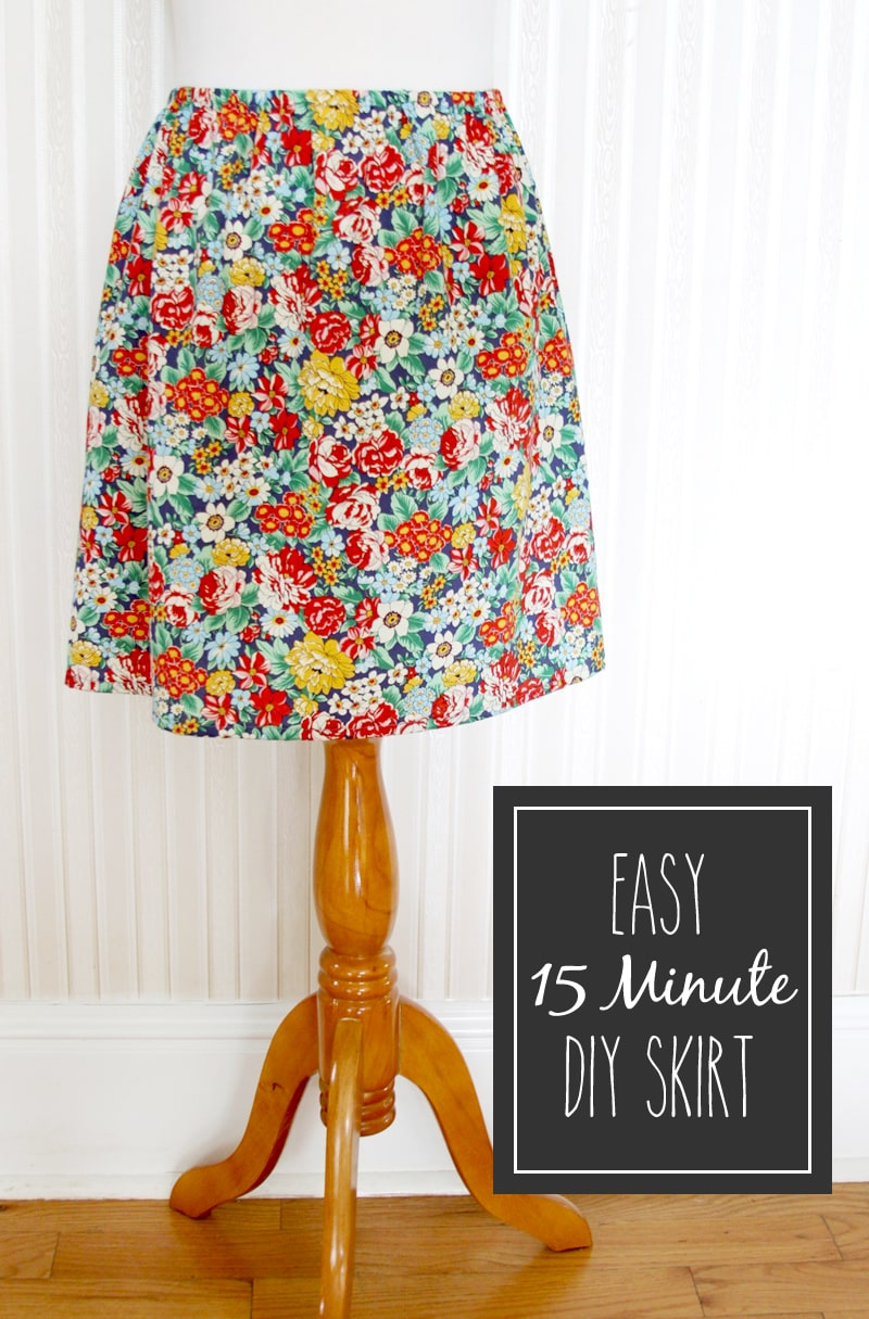 Easy 15 Minute DIY Skirt tutorial on { lilluna.com } Pick out your fabric & set aside 15 min to make this super cute skirt!