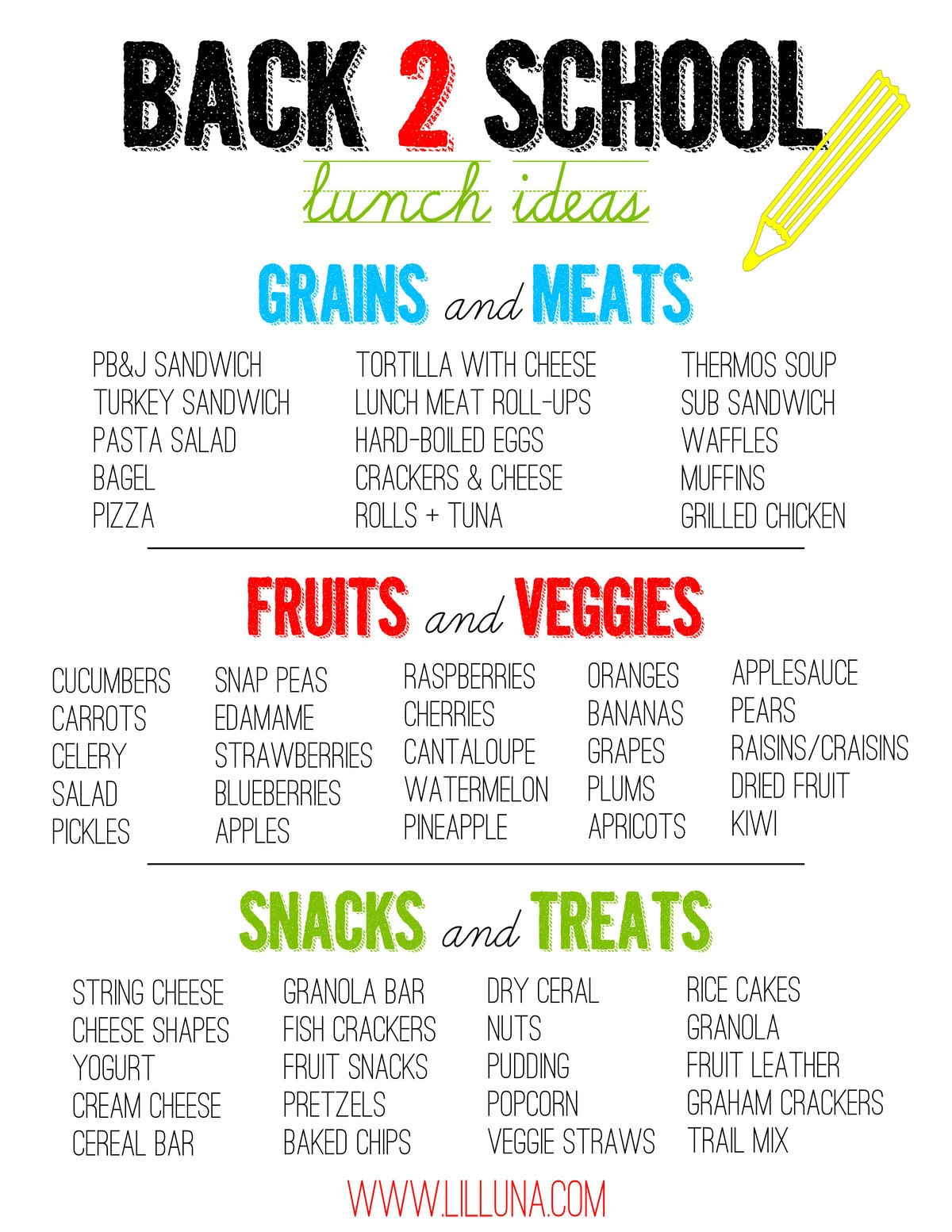 Great Back 2 School Lunch Ideas on { lilluna.com } The kids will love the variety and can help choose!