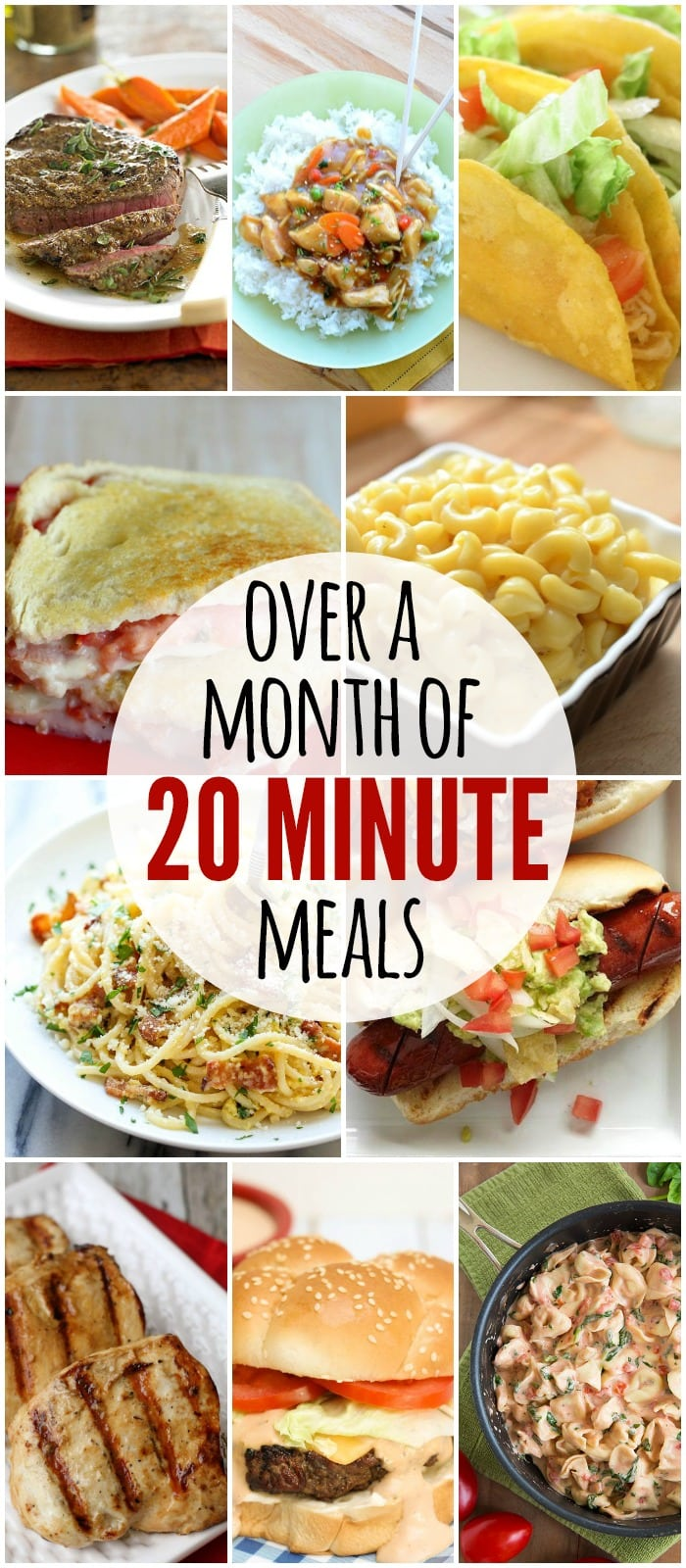 Over a month worth of meals that only take 20 minutes or less to prepare! Check it out on { lilluna.com } Pastas, tacos, sandwiches and more!!