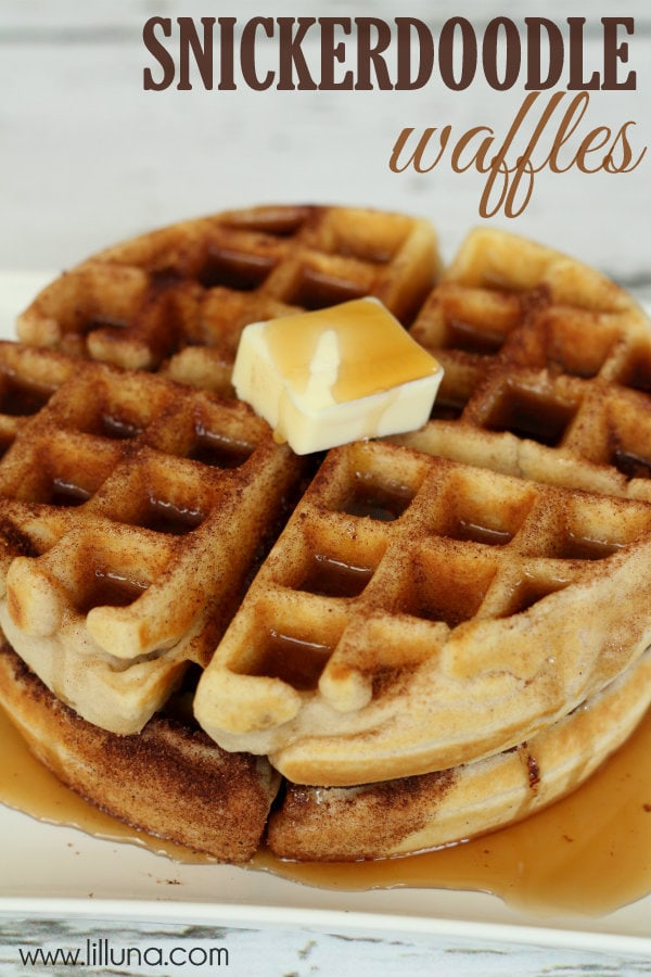 Snickerdoodle Waffles are delicious and perfect for breakfast, lunch or dinner! { lilluna.com } Soft waffles dipped in butter then topped with cinnamon/sugar!