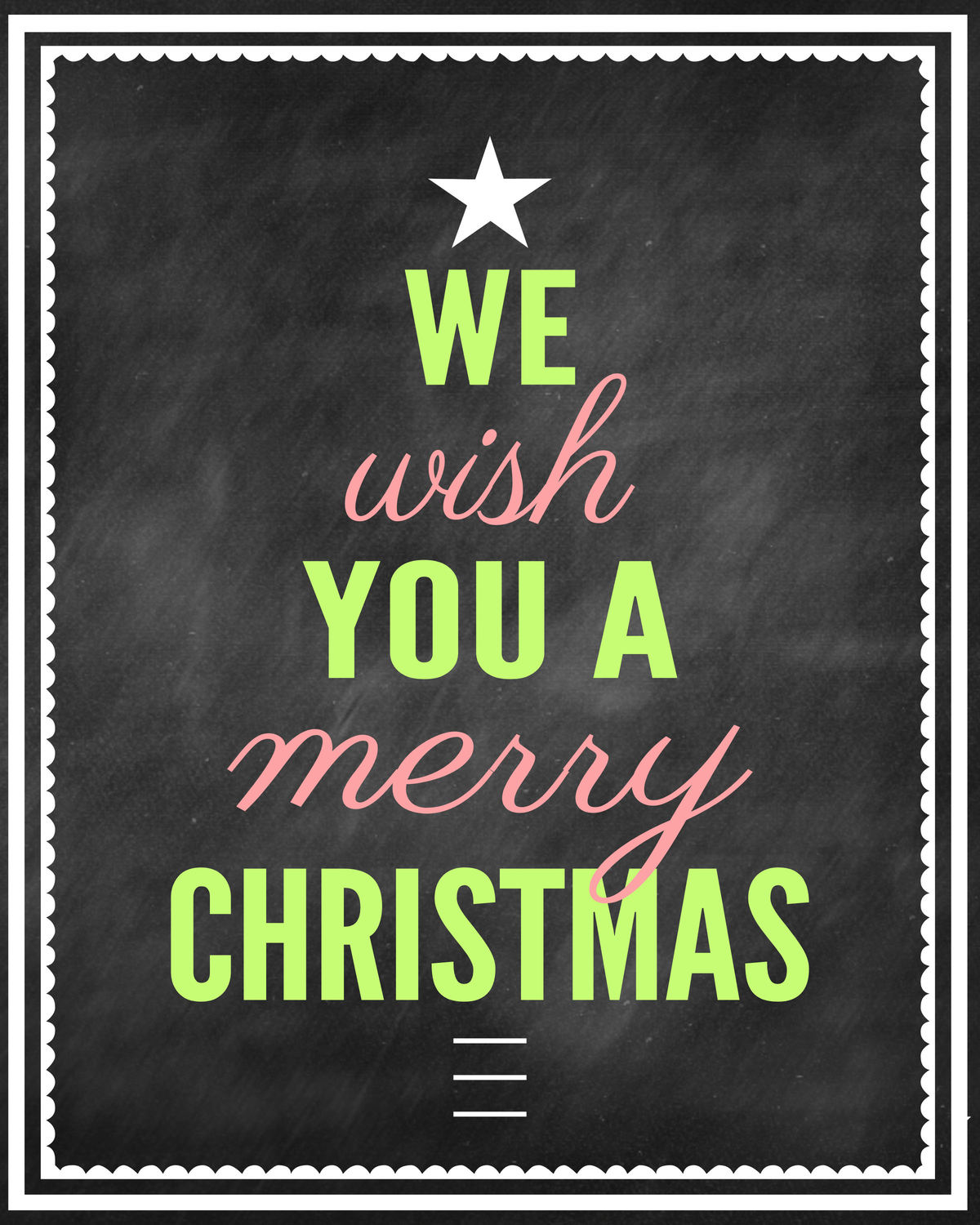 We Wish You a Merry Christmas Chalk Print - GREEN { lilluna.com } Just add a frame and you have a great gift idea!