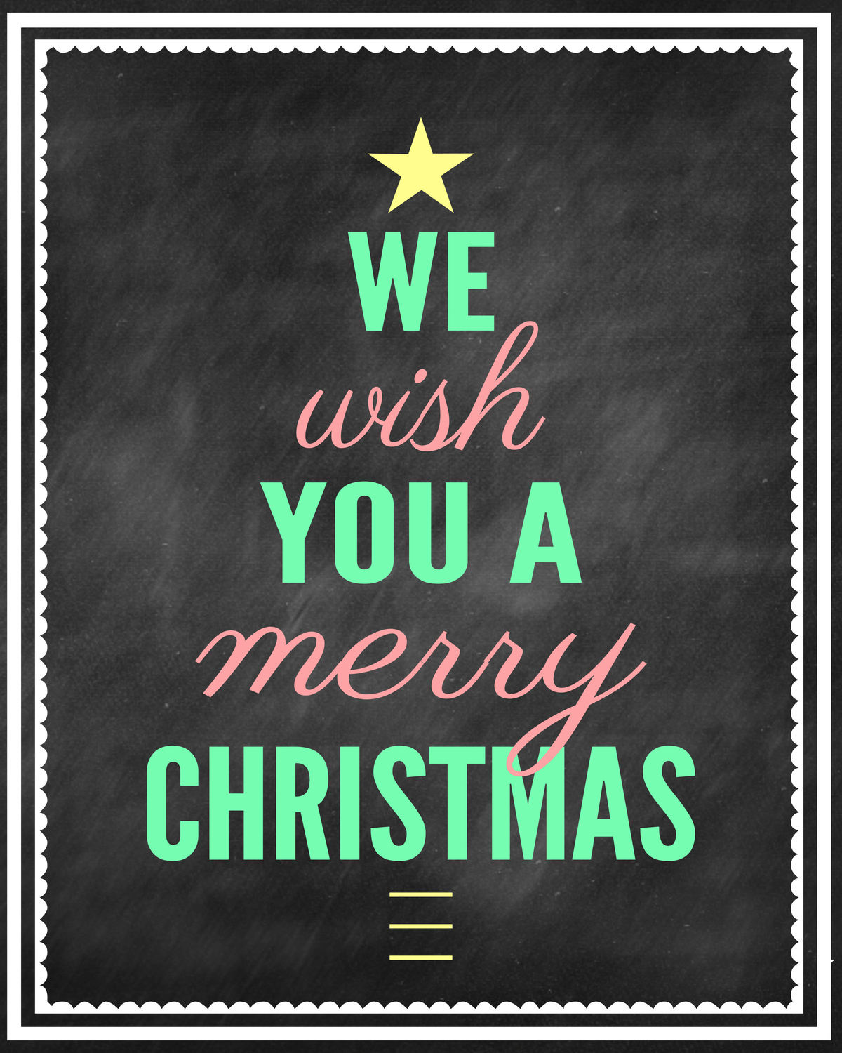 We Wish You a Merry Christmas Chalk Print - TURQUOISE