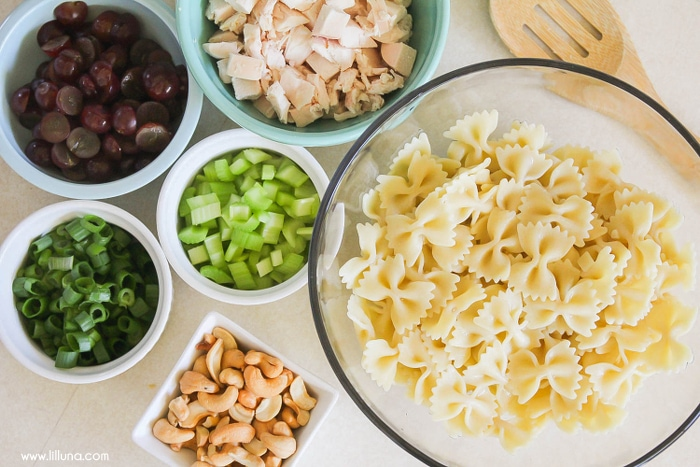 Cashew Chicken Pasta - a cream pasta recipe with chicken, grapes, cashews and more tossed in a delicious homemade dressing.